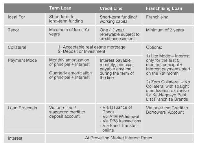 bpi kanegosyo business loans chart