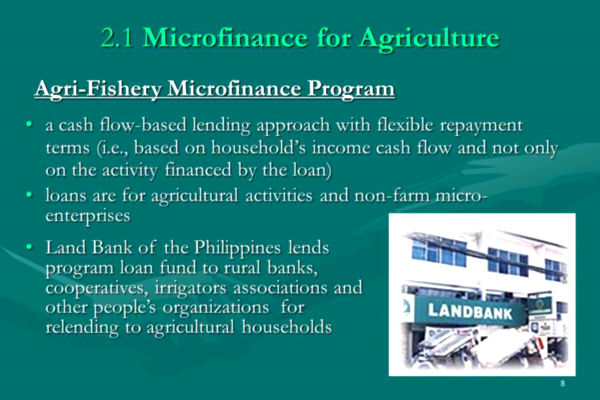 Agri-Fishery Microfinance Program (AFMP) 1